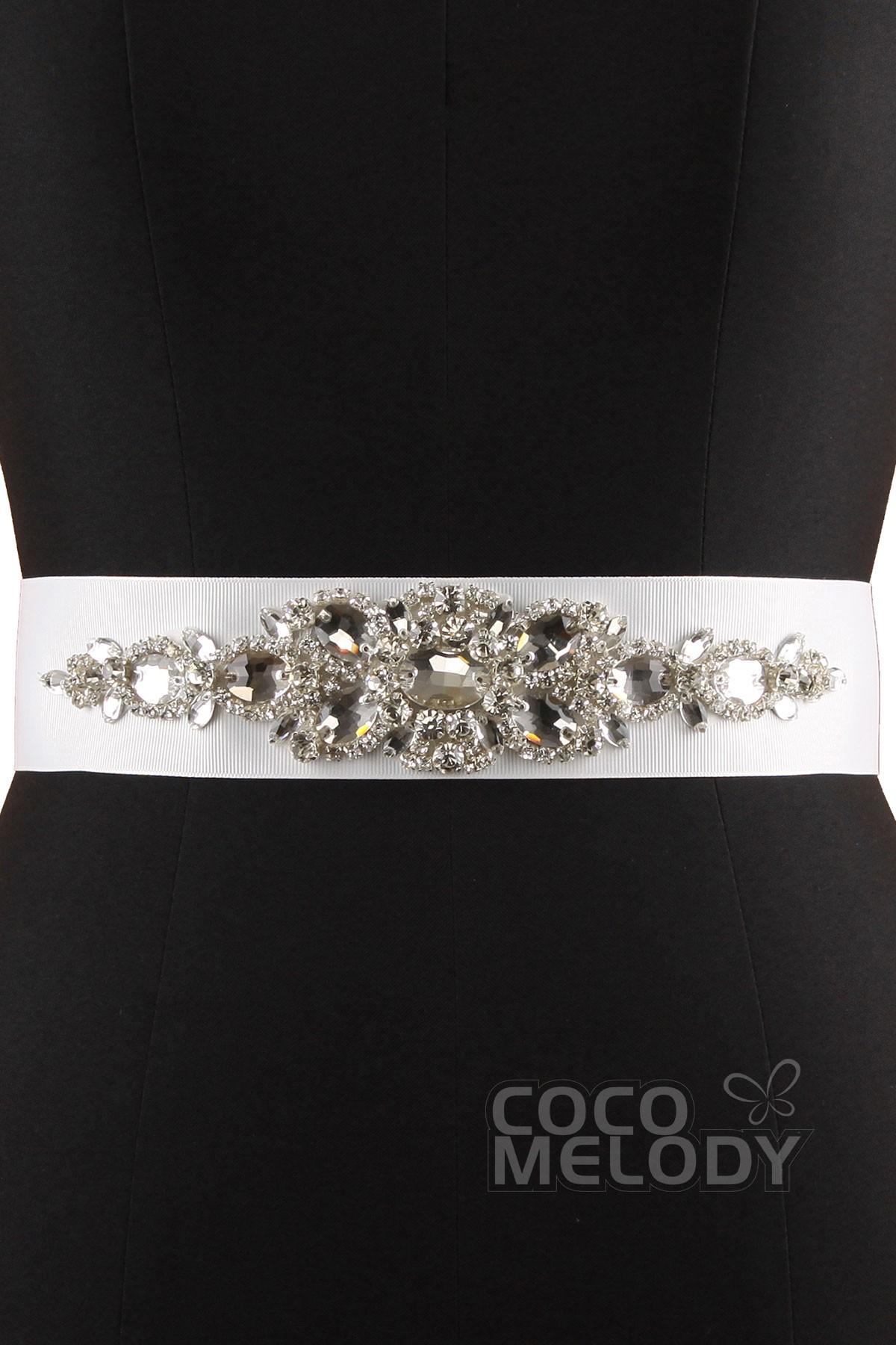 Modern Wedding Sash With Crystals and Beading YD4516