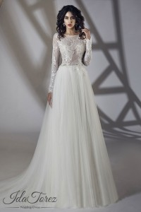 Cocomelody A Line Sweep Brush Train Tulle Wedding Dress