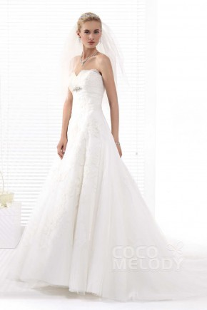 Perfect A-Line Sweetheart Chapel Train Tulle Wedding Dress Alb12283