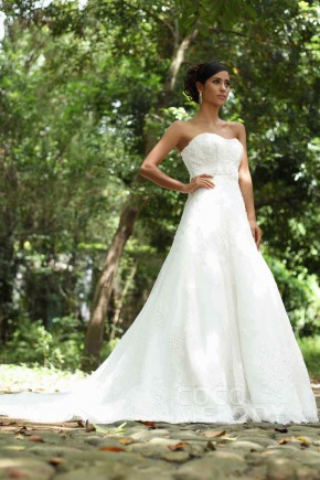 Timeless A-Line Sweetheart Chapel Train Tulle Wedding Dress Alb12285