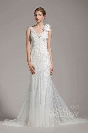 Charming Sheath-Column V-Neck Tulle Ivory Sleeveless Wedding Dress with Beading and Flower AWVT15002