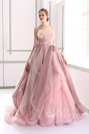 Chic A-line Strapless Natural Court Train Tulle and Organza Veiled Rose Sleeveless Lace Up-Corset Wedding Dress with Flower and Sashes JUL015002