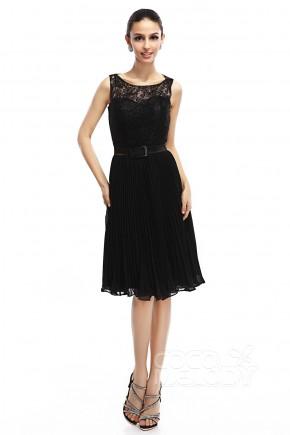 Sheath-Column Illusion Knee Length Chiffon Black Sleeveless Zipper Little Black Dresses COZK14005
