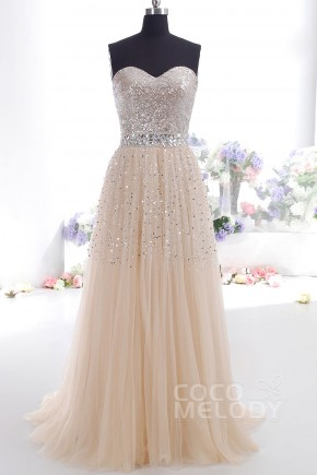 Pretty Sheath-Column Sweetheart Sweep Brush Train Tulle Cocktail Dress with Crystals COZF14016