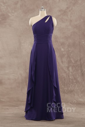 Charming Sheath-Column One Shoulder Floor Length Chiffon Dark Purple Sleeveless Zipper Wedding Guest Dress COZF15009