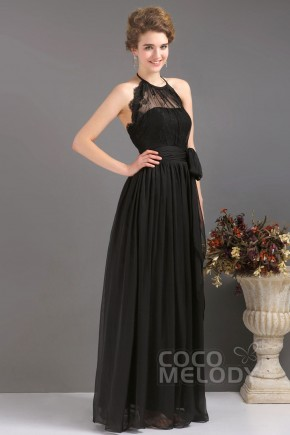 Sweet Sheath-Column Halter Floor Length Chiffon Black Evening Dress COUF13007