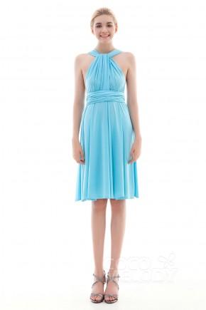 Unique Sheath-Column Natural Knee Length Knitted Fabric Angel Blue Glow Sleeveless Convertible Bridesmaid Dress COEK16002
