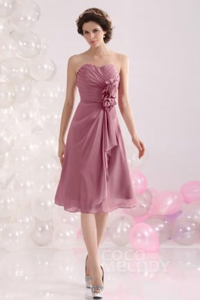 Pretty A Line Sweetheart Knee Length Chiffon Bridesmaid Dress Cozk13029