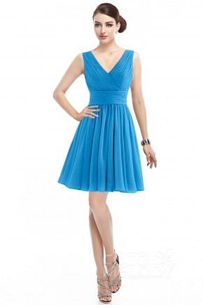 Casual A-Line V-Neck Natural Short Mini Chiffon Autumn Sunset Sleeveless Zipper Bridesmaid Dress COZK14019
