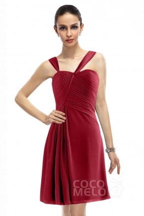 Charming A-Line Straps Natural Knee Length Chiffon Sleeveless Zipper Bridesmaid Dress COZK1401A