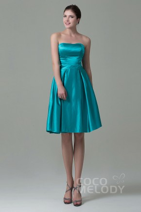 Sweet A-Line Strapless Natural Knee Length Satin Sleeveless Lace Up-Corset Bridesmaid Dress COZK1500A