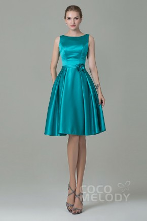 Pretty A-Line Bateau Natural Knee Length Satin Blue Turquoise Sleeveless Zipper Bridesmaid Dress with Flower COZK1500B