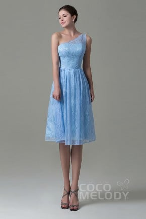 Fancy One Shoulder Natural Knee Length Lace Sleeveless Lace Up-Corset Bridesmaid Dress COZK16009