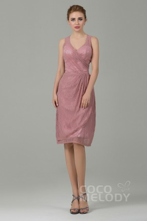 Modern Sheath-Column V-Neck Natural Knee Length Lace Sleeveless Zipper Bridesmaid Dress COZK16012
