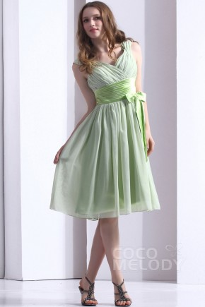 Hot Sale A-Line V-Neck Knee Length Chiffon Reed Bridesmaid Dress COZK1301B
