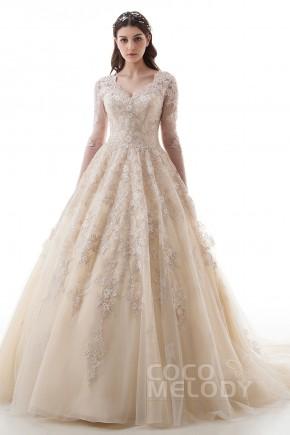 A Lace Wedding Dress Princess Cut
