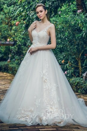 Wedding dress rental columbus ohio a line chapel train tulle lace and organza wedding dress ld5712 junglespirit