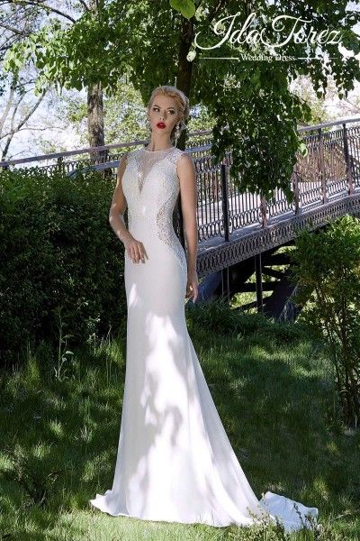 Latest Trumpet-Mermaid Illusion Natural Sweep-Brush Train Stretch Crepe Ivory Sleeveless Buttons Wedding Dress 01003