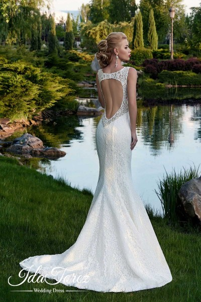 Noble Trumpet-Mermaid Scoop Natural Court Train Lace Ivory Sleeveless Open Back Wedding Dress Beading 01008
