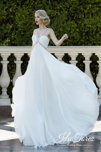 Timeless Sheath-Column Straps Empire Floor Length Chiffon Ivory Sleeveless Zipper Wedding Dress Draped 01012