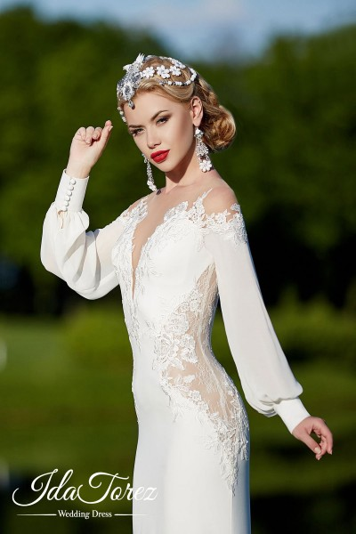 Trendy Trumpet-Mermaid Illusion Natural Court Train Stretch Crepe Ivory Long Sleeve Buttons Wedding Dress 01013