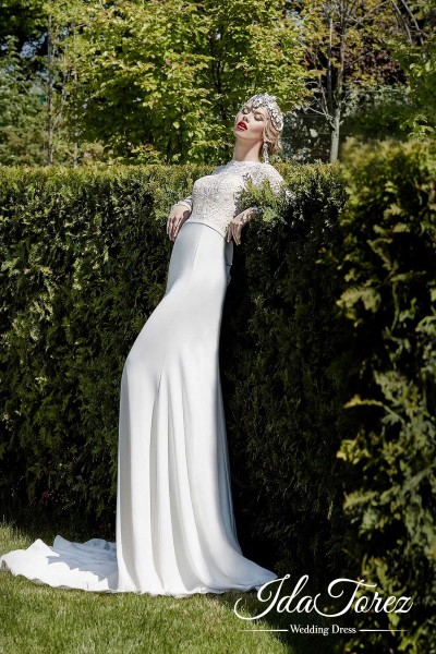Modern Trumpet-Mermaid Illusion Natural Sweep-Brush Train Stretch Crepe Ivory Long Sleeve Open Back Wedding Dress Bowknot 01028