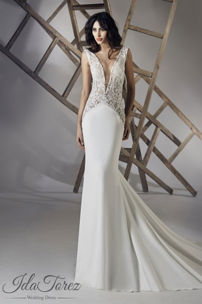 Luxurious Trumpet-Mermaid V-Neck Natural Chapel Train Stretch Crepe Ivory Sleeveless Open Back Wedding Dress Beading 01073