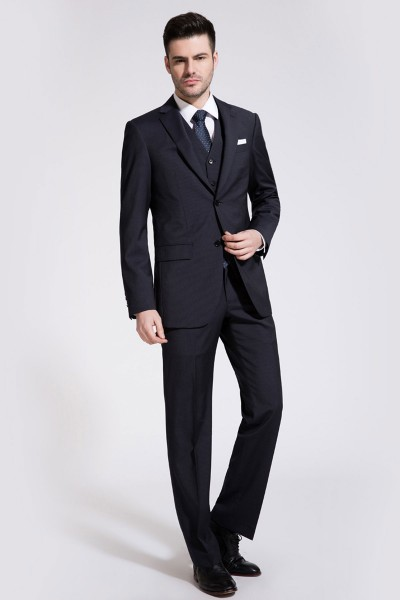 Classic Dark Navy Striped Two-Piece Suit ID-170