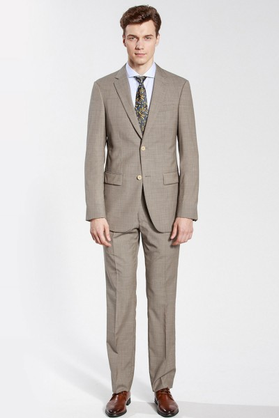 Khaki Houndstooth Two-piece Suit ID-181