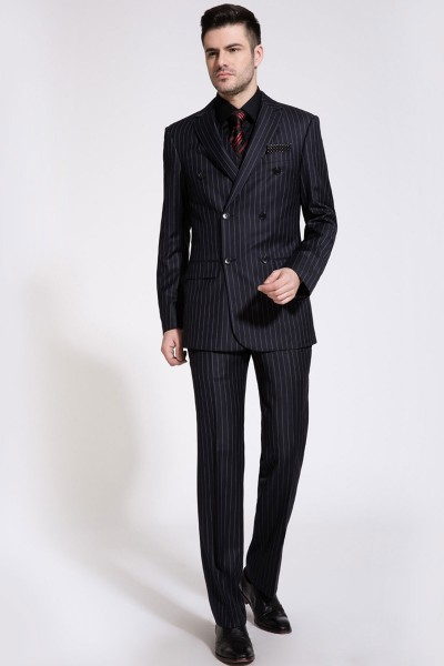 Dark Navy Blue Glow Wide Striped Two-Piece Suit ID-183