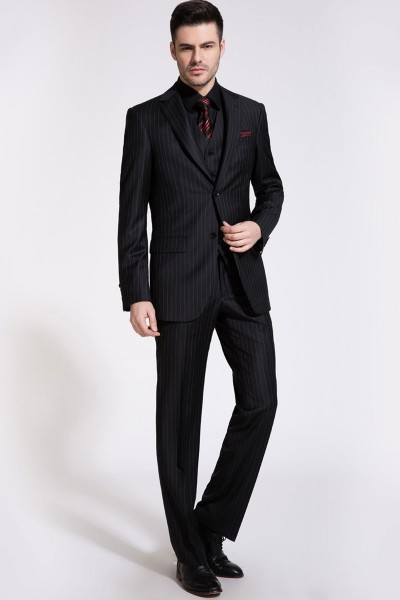 Classic Black Pinstriped Two-Piece Suit ID-190