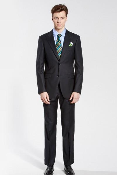 Classic Black Herringbone Two-Piece Suit ID-201