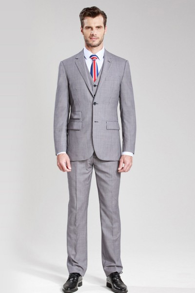 Dark Blue Glow and Fiery Red Plaid Three-piece Suit ID-344