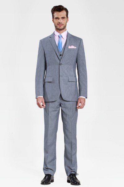 Blue Glow and Flint Gray Checked Three-piece Suit ID-345