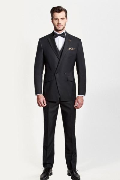 Black Closure Collar Dress Three-piece Suit ID-370