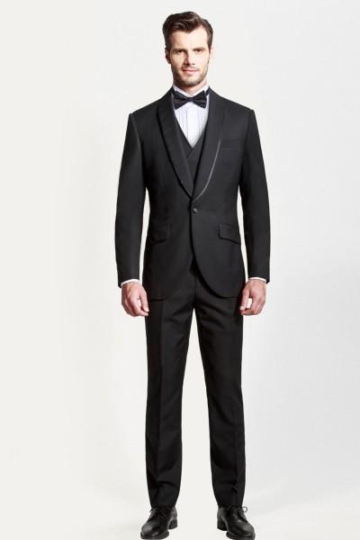 Formal Black Shawl Dinner Three-piece Suit ID-372