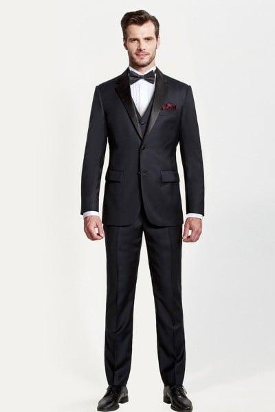 Dark Navy Blue Glow Three-piece Suit with Black Lapel ID-374