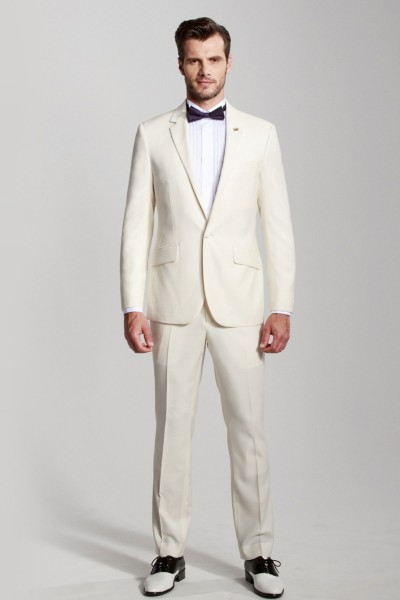 White Flat Collar Two-piece Suit ID-389