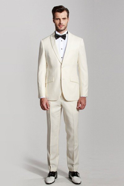 White Shawl Collar Dress Two-piece Suit ID-390