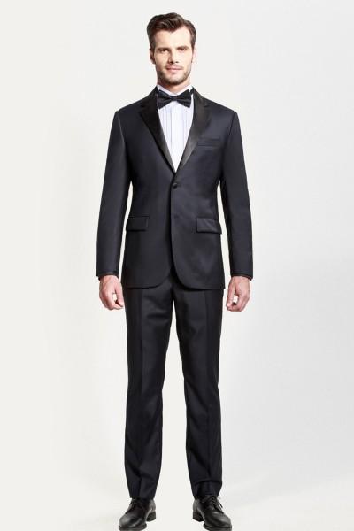 Dark Navy Blue Glow Dress Two-piece Suit with Black Lapel ID-391