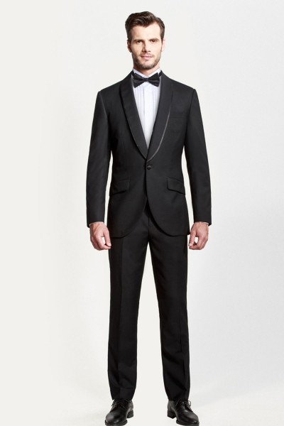 Formal Black Shawl Dinner Two-piece Suit ID-392