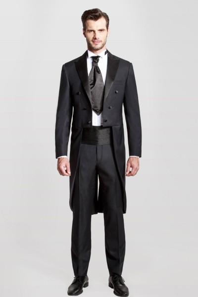 Black Closure Collar Two-piece Suit ID-393