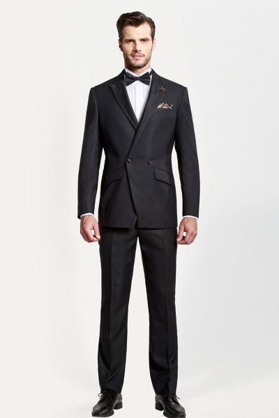 Black Closure Collar Dress Two-piece Suit ID-396