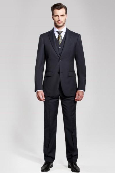 Classic Dark Navy Striped Three-piece Suit ID-50