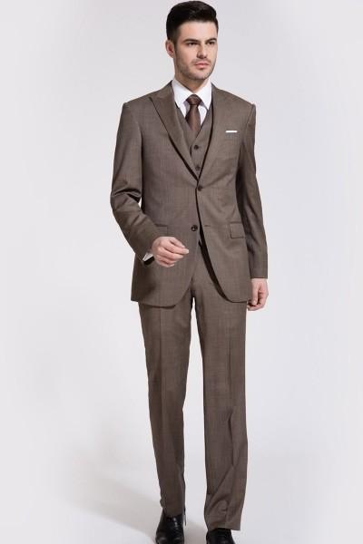Dark Champagne Bone Brown Wool Three-piece Suit ID-59