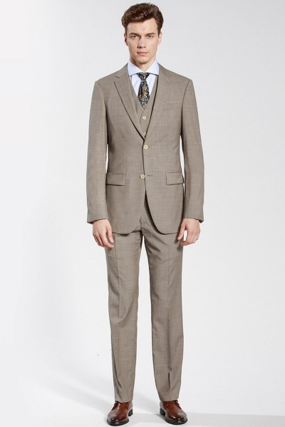 Beige Houndstooth Checked Three-piece Suit ID-61