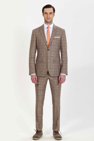 Tan Checkered Two-piece Suit ID-675