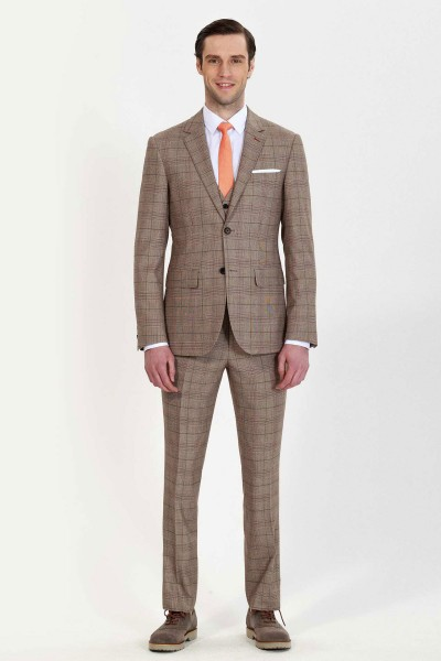 Tan Checkered Three-Piece Suit ID-676