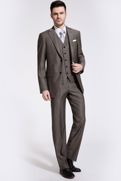 Dark Champagne Bone Brown Reda Three-piece Suit ID-74