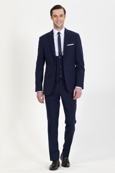 Dark Navy Blue Glow Three-Piece Suit ID-750